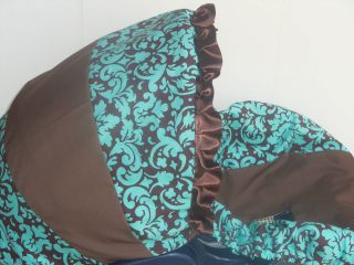 Blue Brown damask Infant Baby Car Seat Cover Graco or Evenflo cover