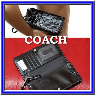 158 COACH CC BLACK PATENT LEATHER WALLET / EVENING BAG w/ Price Tag