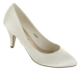 L2997 WOMENS IVORY SATIN MEDIUM HEEL WEDDING BRIDAL SHOES SIZE 3 8