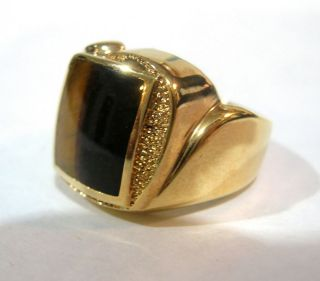 TIGERS EYE MENS Ring SIGNED by Dolphin Ore 18 kt Gold ep Size 10