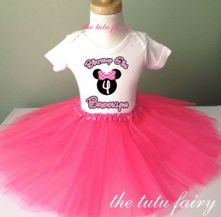 Hot pink tutu & minnie mouse birthday shirt name age 1st 2nd 3rd 2t 3t