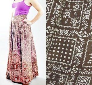 Brown & White Print Maxi Long Peasant Skirt sz S M Hippie Groovy