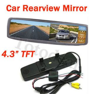 Car RearView mirror w/Free Reverse Two video input For GPS and camera