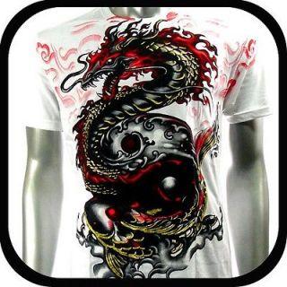Shirt Tattoo Dragon Koi Fish AW52 Sz M L XL XXL Graffiti Biker