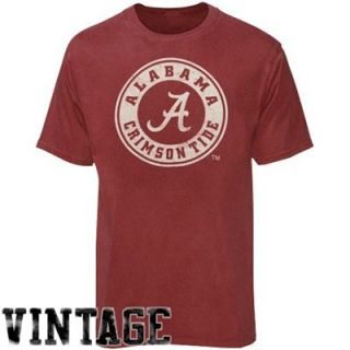 Alabama Crimson Tide Heather Crimson Vintage Round Logo T shirt