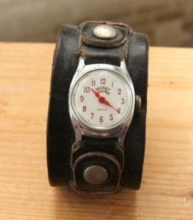 VINTAGE Rare INGERSOLL Mickey Mouse Leather Band Windup Jewelry WATCH