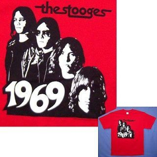 IGGY POP & THE STOOGES 1969/BAND PIC RED T SHIRT LARGE NEW