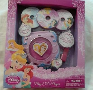 Disney PRINCESS PLAY CD PLAYER w CDs *NEW* Plays 23 songs Ariel