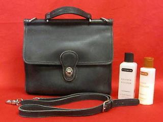 Authentic COACH WILLIS Bag Black Leather Purse with Coach Lotion