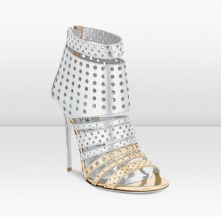 Jimmy Choo  Malika  Silver and Gold Mirror Leather Sandals