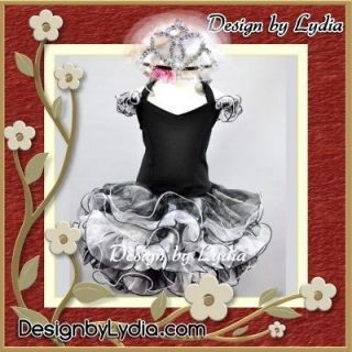 388Z CROWN   Black Back X National Pageant Wedding Cupcake Dress 2 3Y