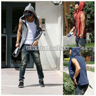 Mens Beach Sport Casual Slim Fit Hoody Sleeveless Hat T shirt Vest