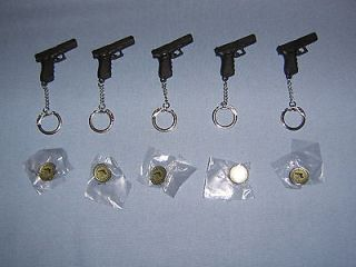 GLOCK   POLYMER GUN KEY CHAINS AND SILVER/ENAMEL HAT PINS GIFT SET