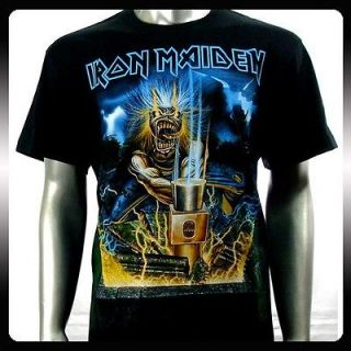 Iron Maiden Heavy Metal Men Rock Punk T shirt Sz L Biker Rider Ir10