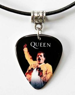 Queen Freddie Mercury Guitar Pick Black Leather Necklace