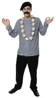 FRENCH FANCY DRESS BLUE AND WHITE STRIPED SHIRT TOP FOR MIME COSTUME