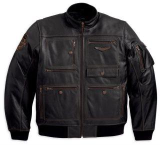 Harley Davidson Mens Military Inspired Leather Jacket 97137 13vm