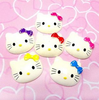 6x Hello Kitty Bow Big Face Resin Flatback Scrapbooking Cabochon DIY