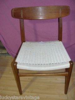 Vintage Danish Modern Hans Wegner CH 23 Cord Weave Oak Teak Chair #3