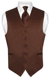 Mens CHOCOLATE BROWN Tie Dress Vest NeckTie Set for Suit or Tuxedo