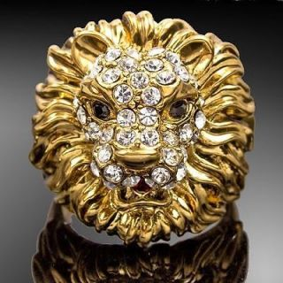 Cool Lion Head Gold GP Rhinestone Cocktail Fashion Ring