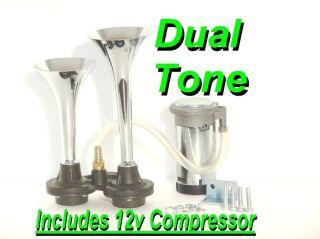 Plug N Play DUAL TRUMPET AIR HORN Heavy Duty Kit Incl. 12v Compressor