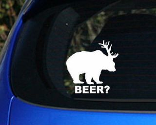 Bear + Deer  Beer? Funny Decal sticker awesome Hunting truck drink