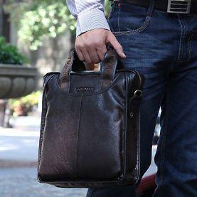 Mens genuine real leather tote shoulder bag handbag messenger BLACK