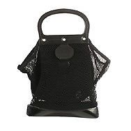 23184 auth JEAN PAUL GAULTIER black mesh & leather Handbag Purse Bag