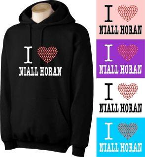 PERSONALISED I LOVE NIALL HORAN HOODIE WITH RHINESTUD HEART (AT)