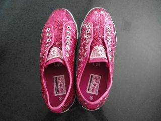 Converse One Star Womens Ladies No Lace Fuschia Pink Sequin Sneakers