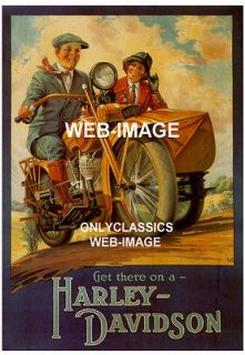 1928 VINTAGE HARLEY DAVIDSON MOTORCYCLE SIDECAR MAN & WOMAN