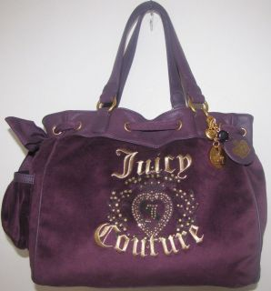 NWT Juicy Couture Best Daydreamer Purple Velour Heart Rhinestone Purse