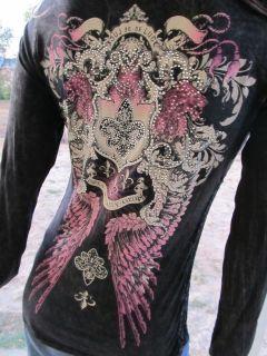 Vocal Black Crochet Wings Fleur De Lis Stones Top Shirt Western Bling