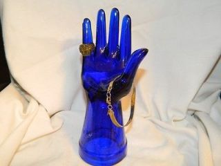 Cobalt Blue Glass Mannequin Hand Jewelry Ring Display or Holder