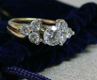 Yellow Gold LEO Diamond Ring 14K Gold .70 CT Diamond Weight With