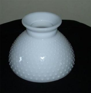 VTG MILK GLASS OIL HURRICANE LAMP TABLE/STUDENT HOBNAIL LIGHT SHADE