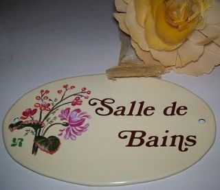 Vintage sign bathroom seating capacity one with wood look for Salle de bain door sign