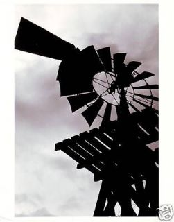 SILHOUETTE EARLY AMERICA WATER PUMPING WINDMILL~C 1950