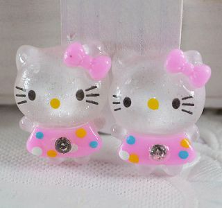Glitter Hello Kitty Cats Flat back appliques/craft/Cabochon T63