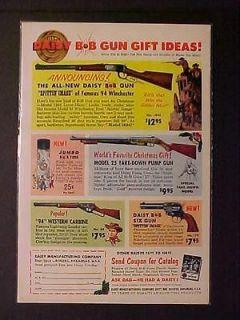 OLD ANTIQUE 1961 COWBOY TOY ~DAISY BB GUN AIR RIFLE GUNS PRINT AD