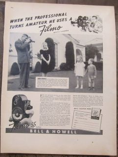 Bell & Howell Filmo Movie Camera May 9, 1938 B & W Vintage Ad