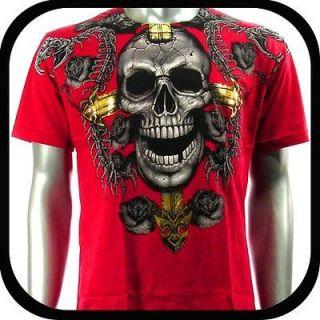 Shirt Tattoo Skull Punk AD33 Sz XXL Graffiti Indie Rock bmx 2XL