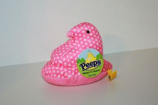 PEEPS EASTER PLUSH BEAN BAG CHICK   PINK WITH WHITE POLKA DOTS   NEW