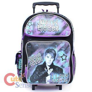 Justin Bieber School Roller Backpack 16 Large Rolling Bag I love