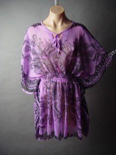 Paisley Print 60s 70s Ethnic Gypsy Caftan Style Boho Sheer Chiffon Top