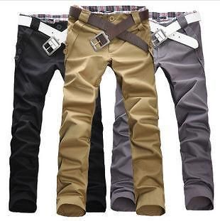Fashion Men Stylish Designed Straight Slim Trousers Casual Pants