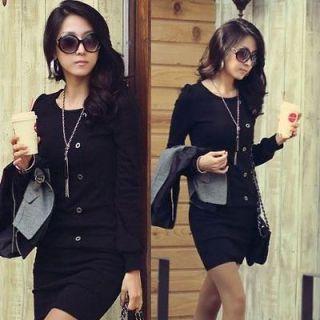 Size M,2S383 Black Korean Fashion office lady round neck long Sleeve