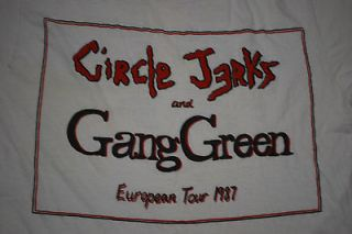 VINTAGE CIRCLE JERKS AND GANG GREEN EUROPEAN TOUR 87 T  SHIRT 1987