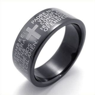 Size 8 Black The Lord Prayer Cross Stainless Steel Band Mens Ring
